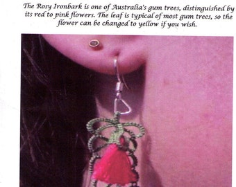 Tatting Pattern Rosy Ironbark Earrings leaf and 3-D blossom