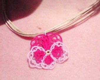 Pink and mauve tatted lace necklace Pansies for Thoughts