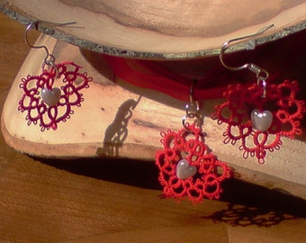 Tatted lace Heart earrings and necklace set red and silver I Heart U