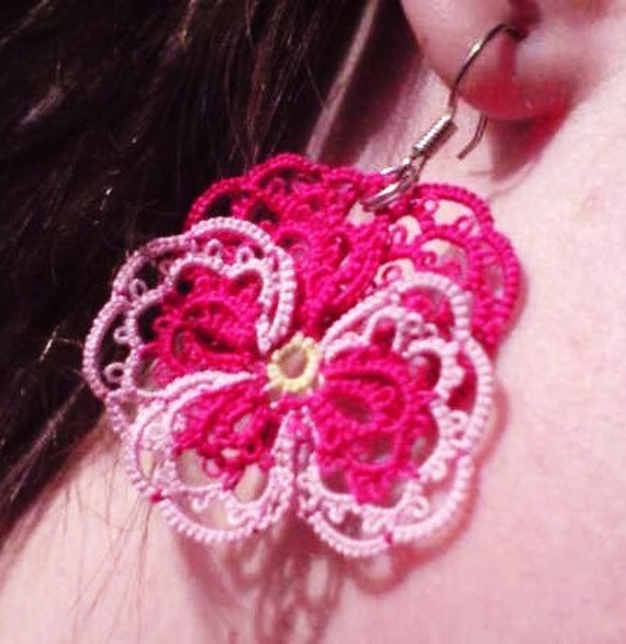 Tatted lace earrings, mauve and pink Pansies for thoughts