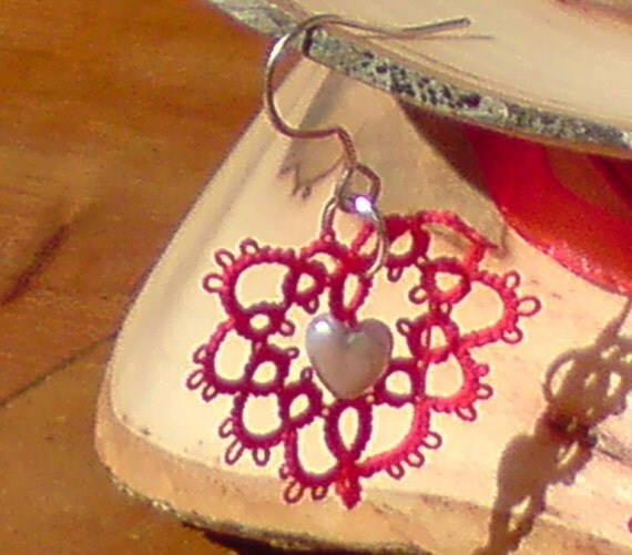 Tatted lace and bead Heart Earrings I Heart U red and silver