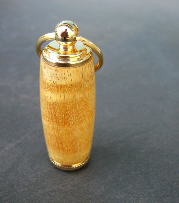 Wood Key Chain, Deluxe Pill Holder, Yellowheart with 10kt Gold Accents and Gift Box