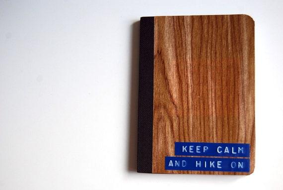 Keep Calm and Hike On Mini Woodgrain Notebook in Blue