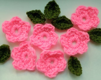 12 Crocheted Flowers and Leaves, 6 Hot Pink Flowers, 6 Green Leaves