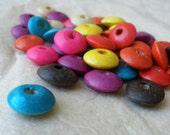 Multi-Colored Wooden Saucer Beads- 100 pcs.