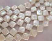 Full Strand White Square Coin Freshwater Pearls 10mm