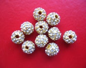 8mm Stunning Dazzling Swarovski Rhinestone Gold Filigree Round Beads - Set of 10
