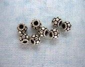 8 Pcs Indian Handmade 925 Sterling Silver Disc Twisted Rope Spacer Beads