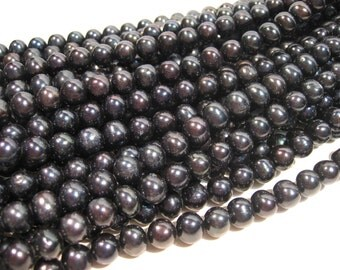 Full Strand Black Blue Freshwater Pearl Round 8-9mm, 15 in, 50pcs