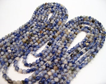 Genuine Blue Sodalite Round Bead Strand, 3-3.5mm 15.5 Inches