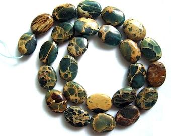 Gorgeous All Natural Blue Variscite Sea Sediment Jasper Puffed Oval Beads