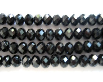 Black Crystal Glass Faceted Rondelle Beads 6x8mm