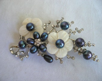 Gorgeous Flower Brooch with Blue Violet Freshwater Pearls, MOP and Rhinestones
