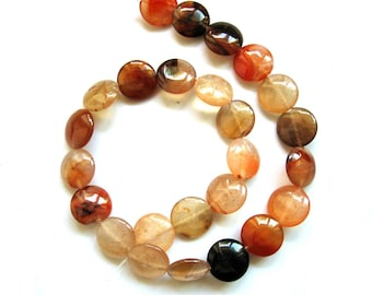 Full Strand Natural Agate Coin Shape Smooth Surface Beads, 16mm, 16 Inches