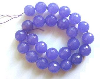 15 Inch Strand Vibrant Medium Purple Jade Faceted Round Beads 16mm