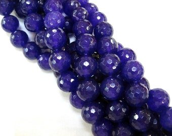 15 Inch Strand Purple Jade Faceted Round Beads 16mm