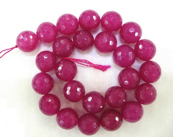 16 Inch Strand Rose Red Jade Faceted Round Beads 16mm