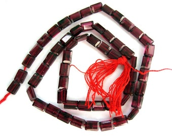 High Quality Genuine Garnet 4x6mm Rectangle Faceted Beads - 14 Inch Strand
