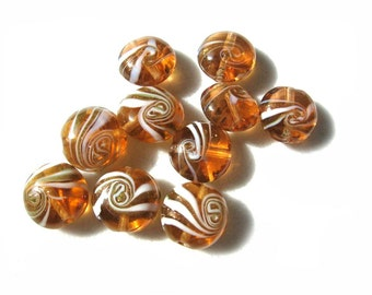 Yellow White Copper Foil Puffed Coin Lampwork Glass Beads - Set of 10