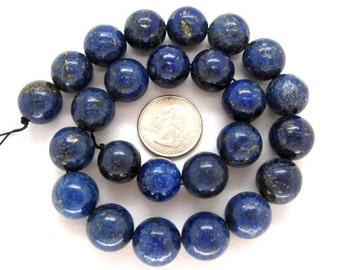 Gorgeous Lapis Lazuli Smooth Round Beads 16mm - 16 Inch Strand