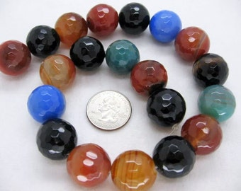 20mm Gorgeous Multicolor Agate Faceted Round Beads - 16 Inch Strand