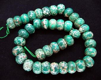 Malachite Green Sea Sediment Jasper Rondelle/Abacus Beads 15x10mm