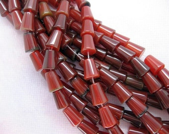 16 Inch Strand Red Agate Trapezoid Round Tube Beads 8x10mm