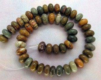 Genuine Multicolor Picasso Jasper Rondelle Beads 13x8mm - 16 Inch Strand
