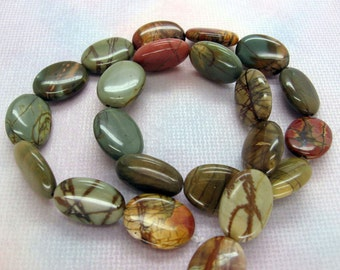 Genuine Multicolor Picasso Jasper Puffed Oval Beads 13x18mm - 16 Inch Strand