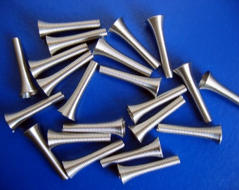 20 Pcs Bright Silver-Plated Spring Coil Bead Caps