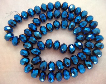 8x10mm Faceted Metallic Blue Czech Glass Rondelle Beads