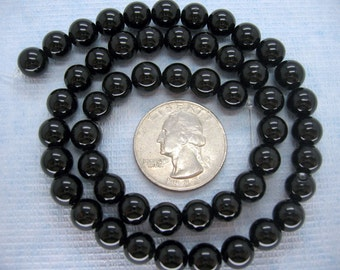 16 Inch Strand Black Agate Round Smooth Beads 8mm