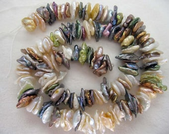 Center Drilled Multicolor Keishi Cornflake Freshwater Pearls - 15 Inch Strand