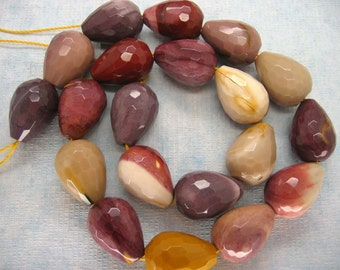 Full Strand Beautiful  Australian Mookaite Faceted Teardrop Beads 20X15mm