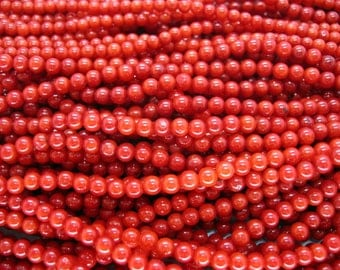 Full Strand Small Red Sea Bamboo Coral Round Beads 3-3.75mm