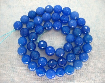 Full Strand A Grade Blue Agate Round Faceted Bead 8mm