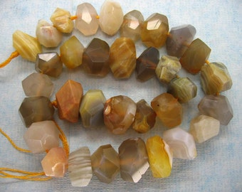 Natural Botswana Agate Freeform Faceted  Beads 16 Inch Strand