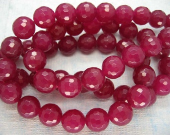 Full Strand Beautiful Rose Red Jade Faceted Round Beads 12mm