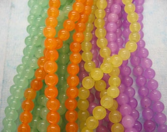 Full Strand Colorful Jade Smooth Round Beads 6mm