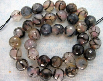 White Black Dragon Veins Agate Faceted Round Beads 10mm