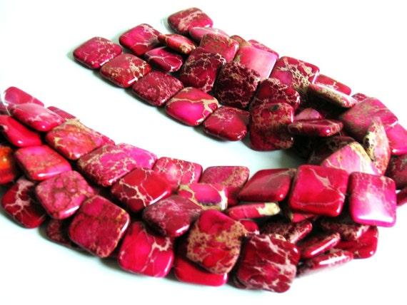 Full Strand Rose Red Sea Sediment Veins Imperial Jasper - Puffed Square 25x25x7mm, 16 in, 16pcs