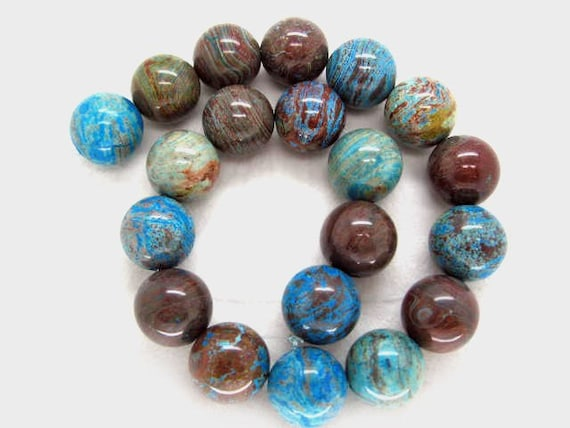 20mm Gorgeous Natural Blue Sky Jasper Smooth Round Beads - 16 Inch Strand