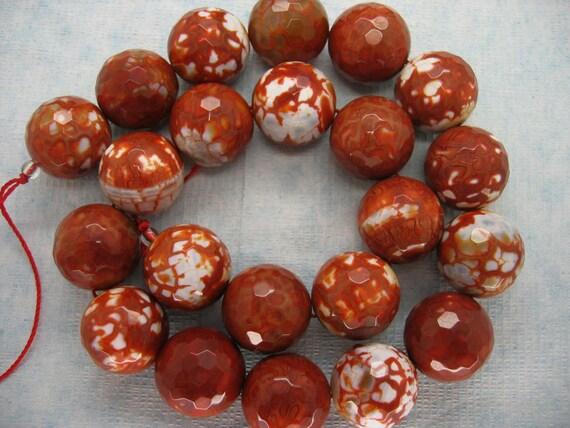 Dark Red Orange Fire Agate Round Faceted Beads 18mm