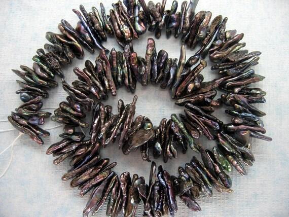 Gorgeous Black Peacock Keishi Petal Freshwater Pearls - 15 Inch Strand