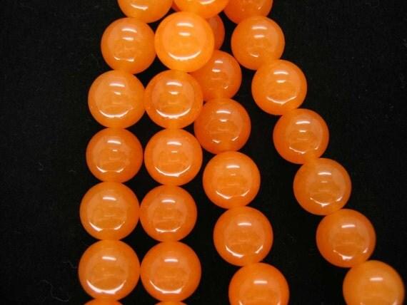 Full Strand Beautiful Orange Red Jade Smooth Round Beads 10mm
