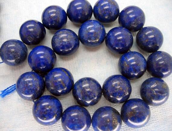 Gorgeous Lapis Lazuli Round Smooth Beads 18mm - 16 Inch Strand