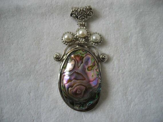Large Egg Shaped Abalone Shell Freshwater Pearl Pendant