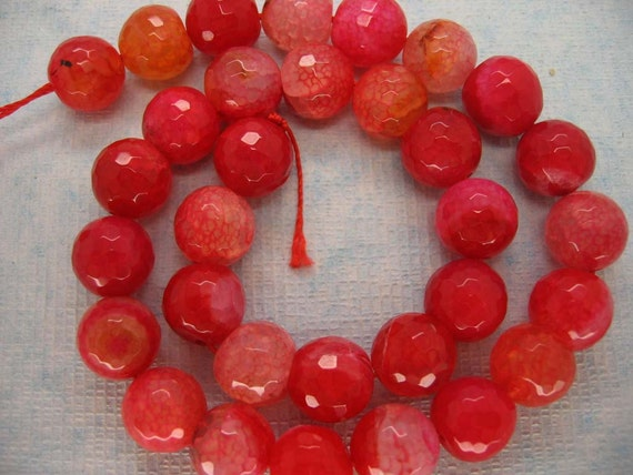 Watermelon Red Veins Agate Faceted Round Beads 12mm