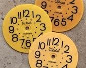 Vintage Soviet Alarm Clock Faces -- plastic -- set of 3 -- D6