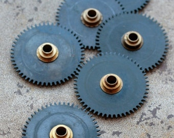 Vintage clock gears -- black -- set of 6
